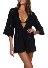 ViX Swimwear Black Lara Cotton Eyelet Swim Cover-Up