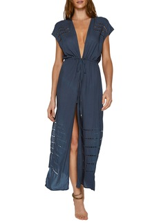 ViX Swimwear Pamela Plunge Neck Cover-Up Maxi Dress