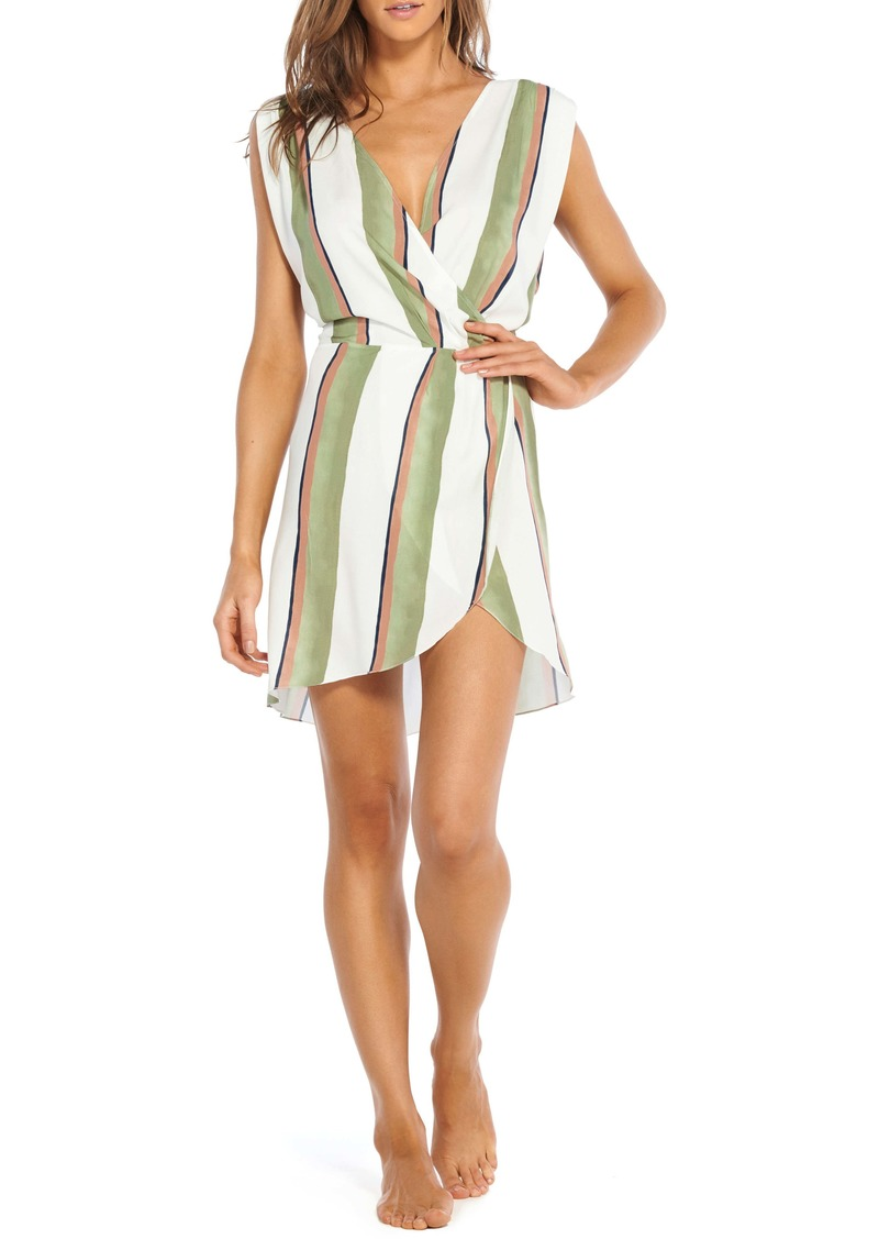 ViX Swimwear Stripe Faux Wrap Caftan