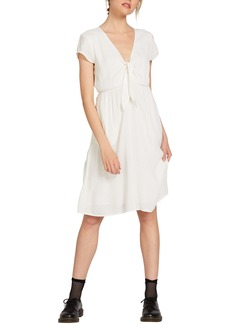 Volcom Anytime N Place Solid Front Tie Dress