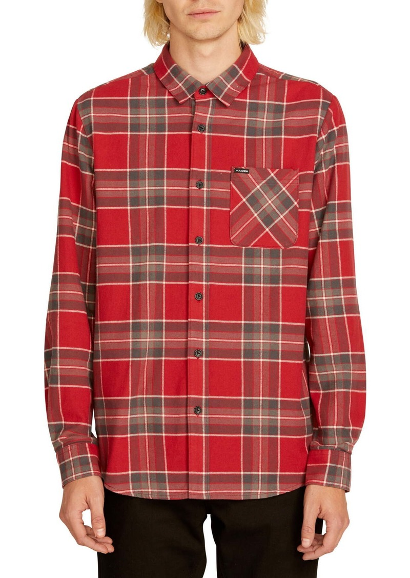 Volcom Caden Plaid Print Regular Fit Flannel Shirt