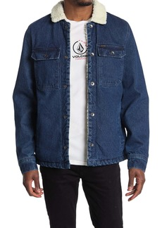 Volcom Keaton Faux Shearling Collar Denim Jacket
