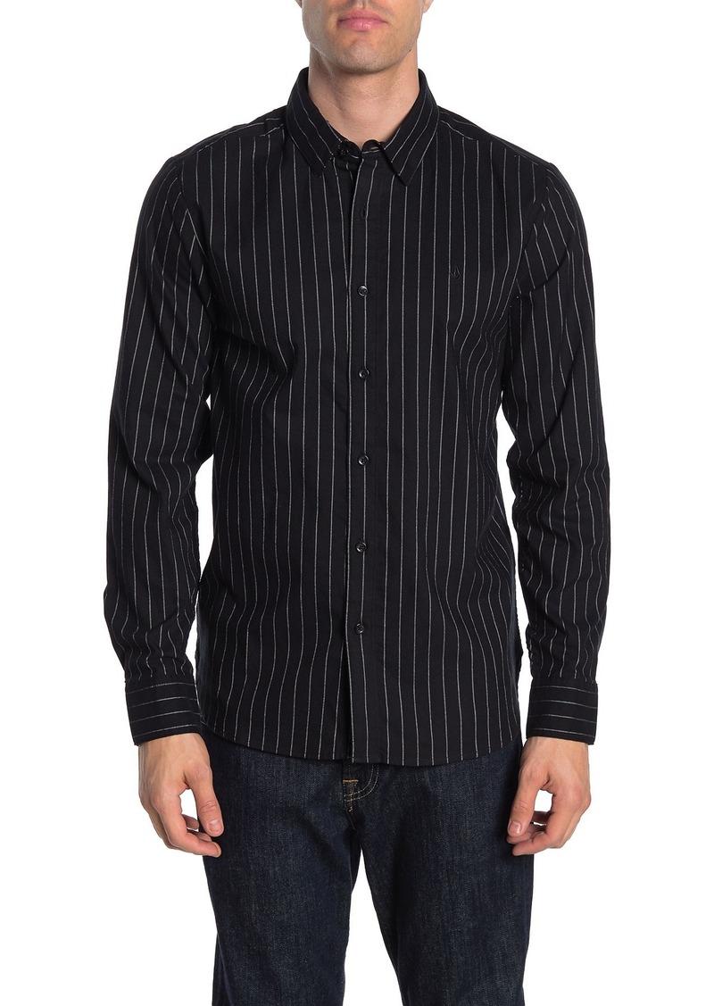 Volcom Vertical Stripe Print Regular Fit Shirt