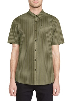 Volcom Beasley Slim Fit Stripe Short Sleeve Button-Up Shirt