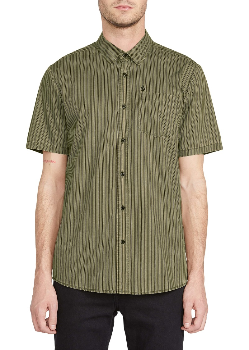 Volcom Beasley Slim Fit Stripe Short Sleeve Button-Up Shirt