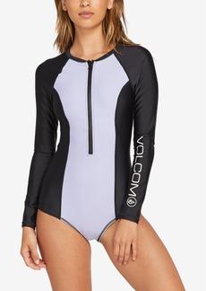 Volcom Colorblocked Long-Sleeve Logo Print Swimsuit Women's Swimsuit