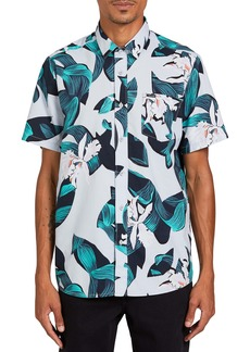 Volcom Cut Out Floral Short Sleeve Button-Up Shirt