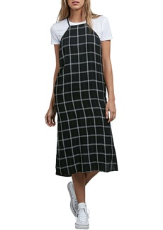 Volcom Jumponit Windowpane Print Midi Dress