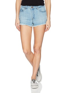 Volcom Junior's 1991 Mid Rise Raw Hem Denim Short