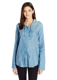 Volcom Juniors Among Us Long Sleeve Hooded Chambray Top
