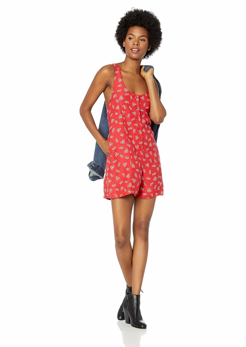 Volcom Junior's Back N The Daisy A-Line Romper Floral Print Dress rad red
