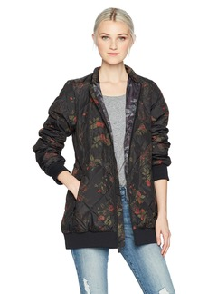 Volcom Junior's Casco Down Floral Print Puff 2 Layer Shell Snow Jacket