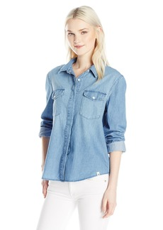 Volcom Junior's Cham Hey Chambray Long Sleeve Button up Shirt CLB S