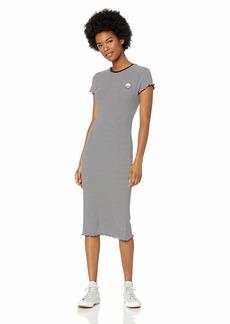 Volcom Junior's Colder Sholder Ruffled Short Sleeve Tee Dress