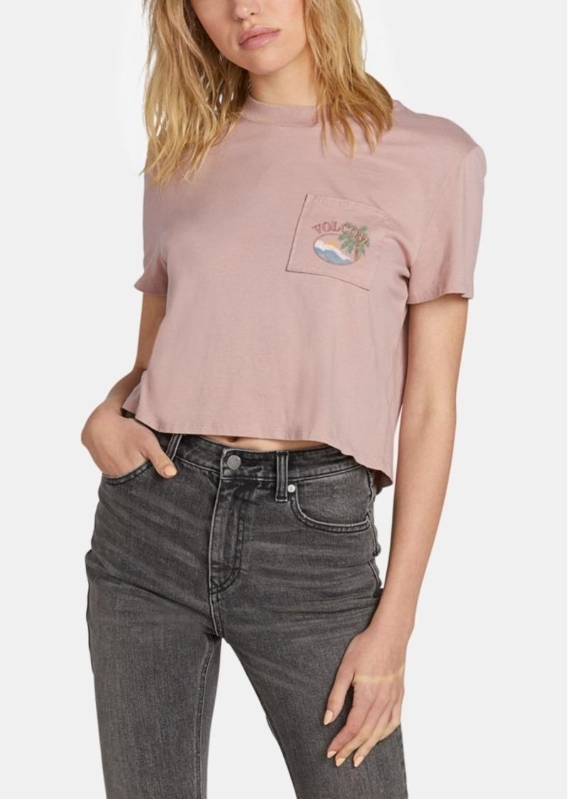 Volcom Juniors' Cotton Cropped Graphic-Print T-Shirt