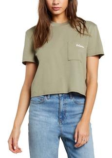Volcom Juniors' Cotton Pocket Dial Cropped T-Shirt