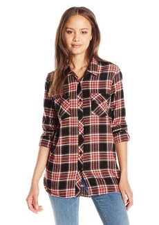 Volcom Juniors Cozy Day Long Sleeve Flannel Plaid Shirt  Medium