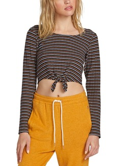 Volcom Juniors' Cropped Tie-Front Top