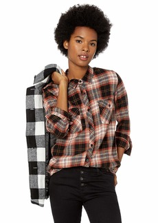 Volcom Junior's Getting Rad Plaid Relaxed Fit Long Sleeve Flannel Shirt Black Extra Large