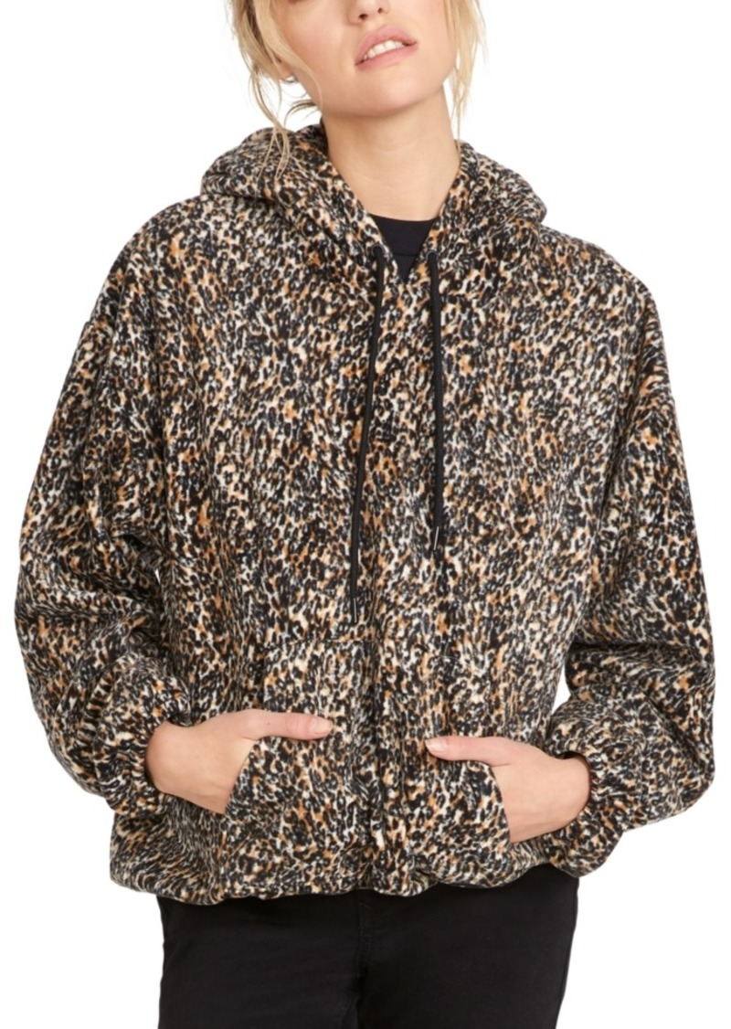 Volcom Juniors' Leopard-Print Fleece Hoodie