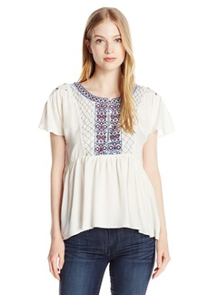 Volcom Junior's Money Tree Peasant Fit Embroidered Top  L