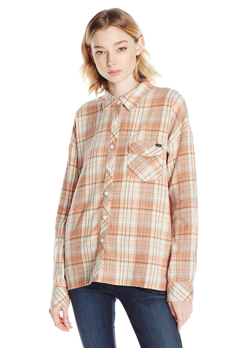 Volcom volcom junior 39 s oldie n goodie long sleeve flannel for Flannel checked long sleeve shirt