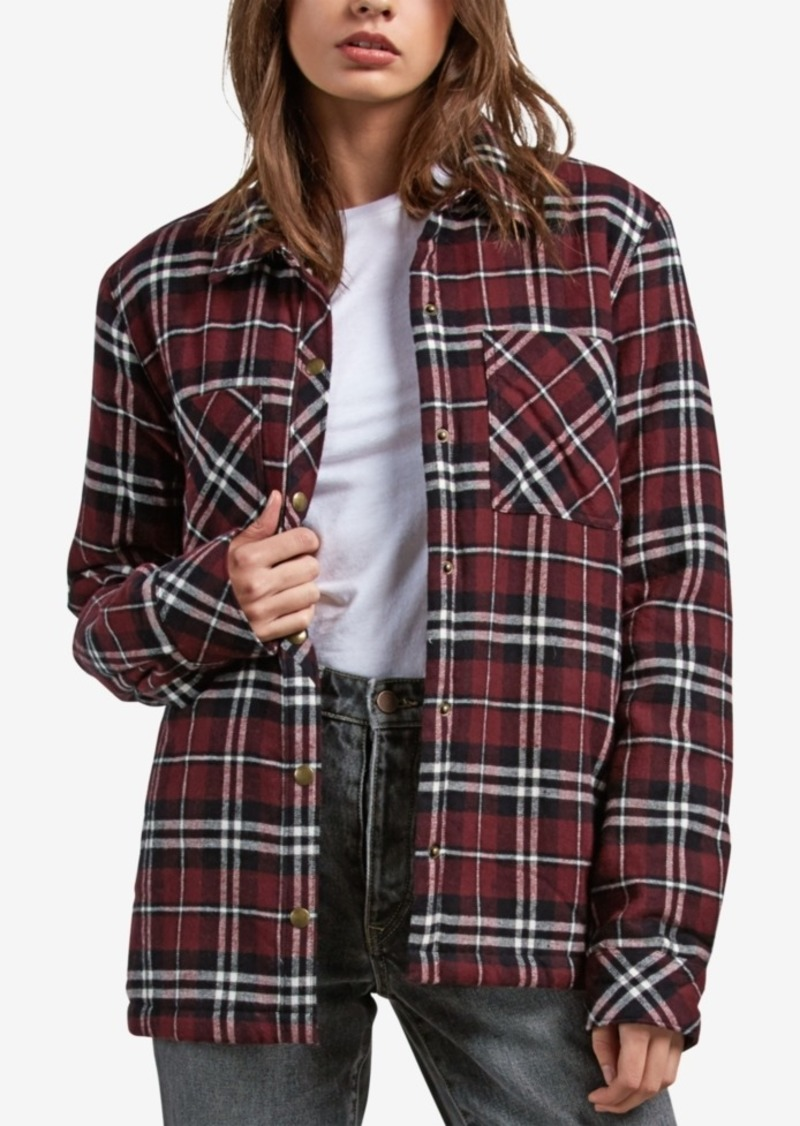 Volcom Juniors' Plaid About You Flannel Shirt Jacket