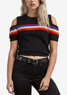 Volcom Juniors' Rainbo Flite Cold-Shoulder Crop Sweater