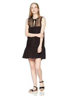 Volcom Junior's Sea Y'Around Polka Dotted Mesh Lace Dress  XS