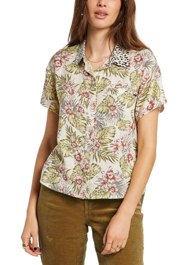 Volcom Juniors Sorry Babe Mixed Print Shirt