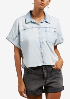 Volcom Juniors' Sunday Strut Chambray Button-Up Top