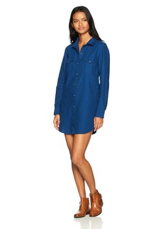 Volcom Junior's Womens' Cham Jam Long Sleeve Chambray Dress  M