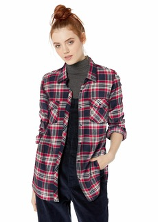 Volcom Junior's Women's Getting Rad Plaid Long Sleeve Flannel Shirt sea Navy