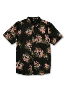 Volcom Men's Barrun Stripe Classic Fit Short Sleeve Button-Up Shirt