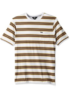 Volcom Men's Belfast Crew Short Sleeve Striped Knit Pocket Shirt  XS