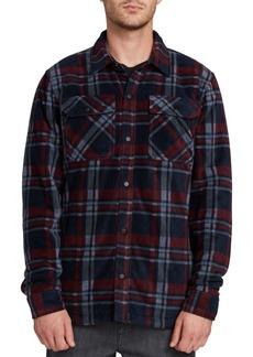 Volcom Men's Bower Plaid Polar Fleece Shirt Jacket