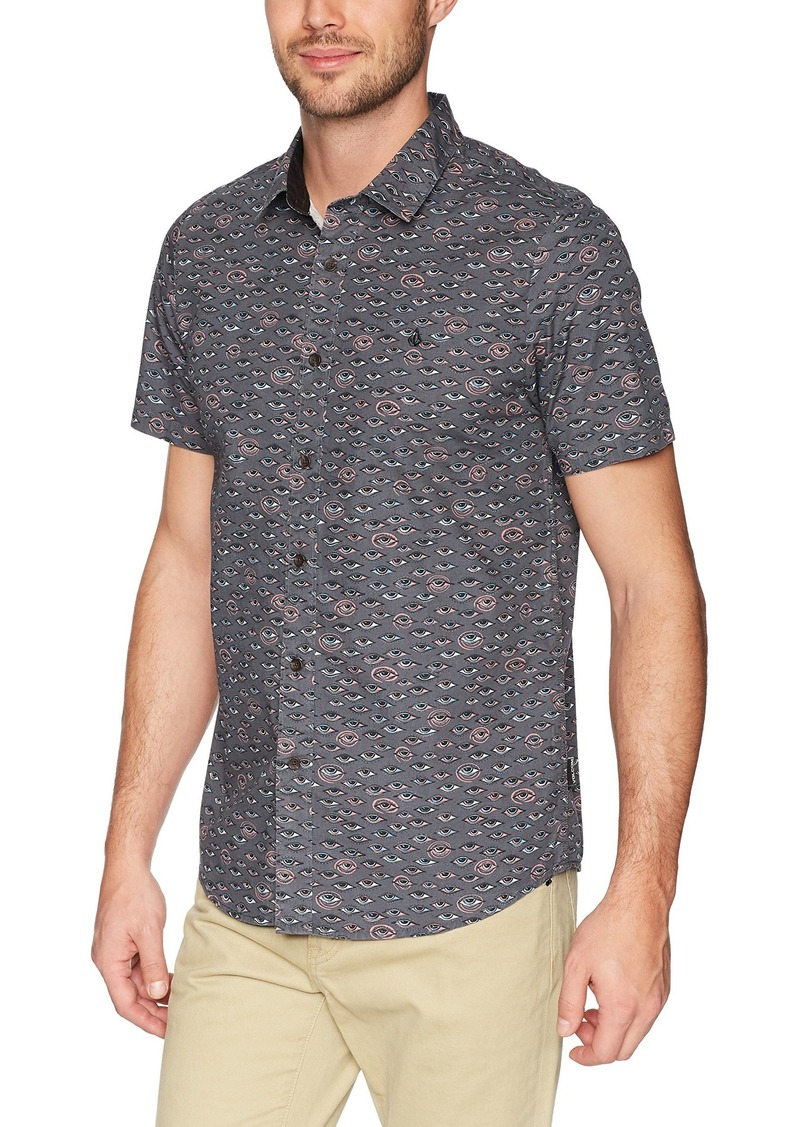 Volcom Mens Stoney Delusion Woven Button Up Short Sleeve Shirt
