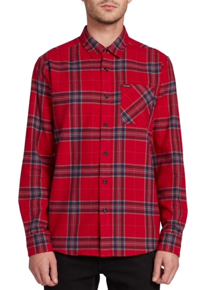 Volcom Men's Caden Herringbone Plaid Shirt