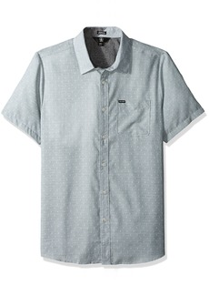 Volcom Men's Dobler Short Sleeve Button Up Solid Shirt  M