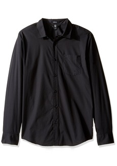 Volcom Men's Everett Solid Cotton Woven Long Sleeve Shirt