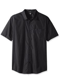 Volcom Men's Everett Solid Cotton Woven Short Sleeve Shirt  S