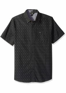 Volcom Men's Frequency Dot Modern Fit Woven Button Up Short Sleeve Shirt