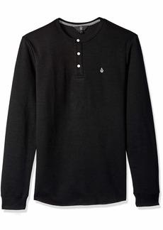 Volcom Men's Layer Stone Long Sleeve Modern Knit Henley Shirt  Extra Small