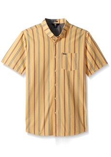 Volcom Men's Mix Bag Short Sleeve Vertical Stripe Button Up Shirt  L