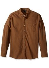 Volcom Men's Oxford Stretch Long Sleeve Shirt mud XL
