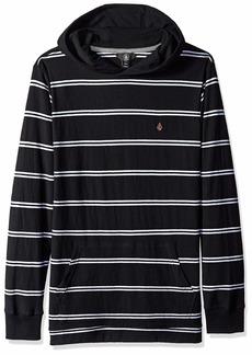 Volcom Men's Randall Knit Long Sleeve Hooded Striped Shirt  Extra Large