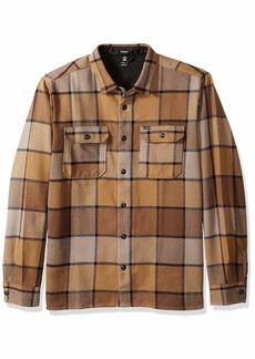 Volcom Men's Randower Modern Fit Woven Long Sleeve Button Up Shirt mud