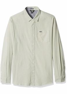 Volcom Men's Toner Modern Striped Long Sleeve Shirt sage