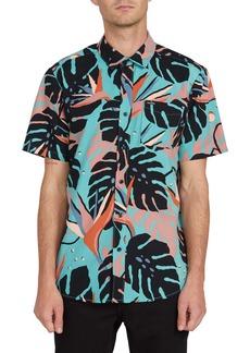 Volcom Mentawais Tropical Print Short Sleeve Button-Up Shirt