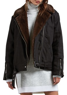 Volcom Perfect Stone Faux Fur Lined Moto Jacket